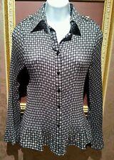 Notations Bell Sleeve Button Up Pepplum Black & Beige Flattering Shirt Top - NEW