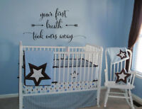 YOUR FIRST BREATH TOOK OURS AWAY CHILDREN'S NURSERY WALL ART VINYL DECOR  DECAL