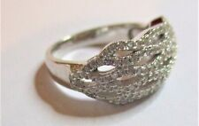 STERLING SILVER  SPARKLING CUBIC ZIRCONIA WAVE RING SUPERB SIZE  M