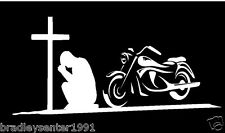 Man Praying at Cross with Motorcycle White vinyl window sticker/decal/graphic