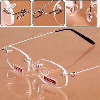 Women's Men's Metal Rimless Reading Glasses Eyeglasses Readers +1.0--+4.0