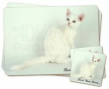 White Cat 'Love You Mum' Twin 2x Placemats+2x Coasters Set in Gift B, AC-86lymPC