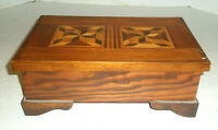 Vintage Wooden Trinket or Jewelry Box Inlay Footed