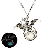 Vintage Men's Glow in the Dark Retro Dragon Pendant Necklace Chain New Sale