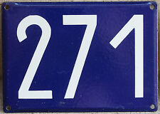 Giant old French house number 271 door gate plate plaque enamel steel metal sign