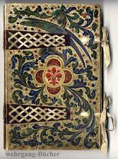 Prächtiges Florentiner Tage- oder Gästebuch, blanko von Hand bemalt um 1880