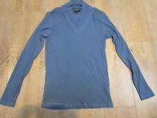 Twisted Soul Men's V Neck Long Sleeve Cotton Ribbed Top Blouse T Shirt Blue XL