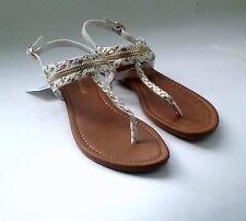 American Eagle Women Gladiator Sandal White Gold Flat Ystrap Thong Flip Flop9.5