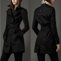 Womens Black Double Breasted Trench Coat Lightweight Rain Jacket Belted