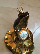 Maitland Smith Polished Finished Cast Brass Frog Clock W/Dyed Red Penshell Inlay