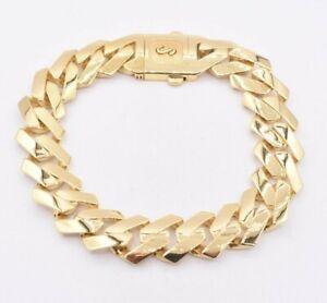 13mm Edge Miami Cuban Royal Link Bracelet Plain Box Clasp Real 10K Yellow Gold