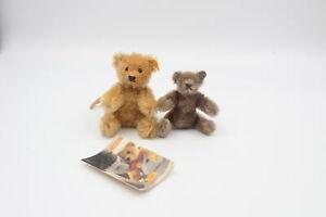 2 x Assorted STEIFF Mohair Teddy Bears Inc. 027871 Pendant, Pose-able, Tag, Etc