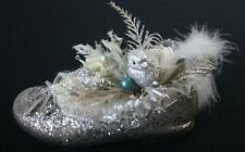 Handcrafted Silver Shoe Christmas Decoration