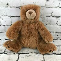 Gund Grizzly Teddy Bear Plush Brown Shaggy Sitting Faux Suede Claws Stuffed Toy