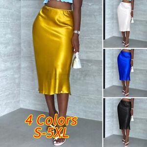 Womens Silky Satin Skirts Bodycon Skirt Dress Holiday Party Skirts Elegant Skirt