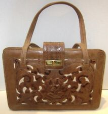 LARGE VINTAGE LEATHER HAND TOOLED PURSE BAG FLOWERS BROWN WHITE GREEN