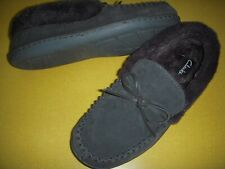 Clarks Moccasins Suede Slippers w/Faux Fur Lining & Bow Womens 9 M Grey 9M