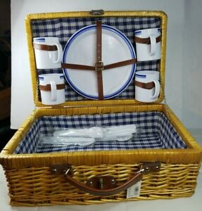 4 Persons Picnic Basket with Cups, Plates, Utensils suitcase style kit