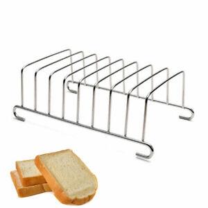 8-Slice Slote Bread Loaf Stainless Steel Silver Toast Rack Serving Stand Holder