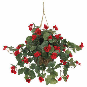 Begonia Hanging Basket Red Realistic Nearly Natural Garden Home Decoration