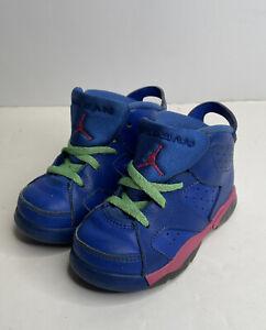 """Air Jordan 6 Retro Toddler Size 7C """"Game Royal"""" Vivid Pink Lucid Green"""