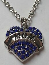 BLUE  MOM FAMILY GIFT CRYSTAL LOVE HEART PENDANT RHINESTONE NECKLACE