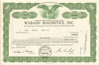 Wabash Magnetics > 1975 Fort Wayne Indiana stock certificate share