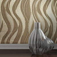 Modern textured Wave lines brown Gold Metallic Wallpaper embossed damask roll 3D