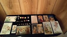 Lot of 28 vintage religious/spiritual pins, pinbacks, cross, lithograph cards