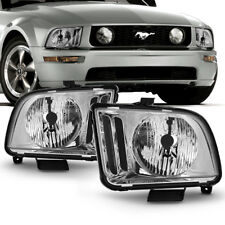 "05-09 Ford Mustang ""FACTORY STYLE"" Chrome Housing Headlight Left+Right Side Lamp"
