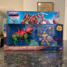 MOTU ?Chrome? Battle Armor He-Man + Battle Cat Set Target Exclusive NIB, In-Hand