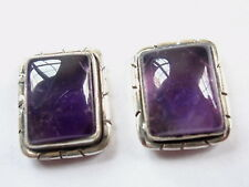 Amethyst 925 Sterling Silver Stud Earrings with Grooved Accents