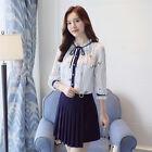 Elegant Women Autumn Floral Chiffon Shirt Ruffle Long Sleeve Casual Blouse Tops