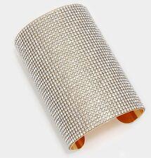 "3.8"" Wide Gold Rhinestone Bridal Clear Pageant Crystal Formal Cuff Bracelet"