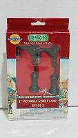 """Lemax Victorian Street Lamps 4"""" Set Of 2 Village Collection 1996 Model 64120"""