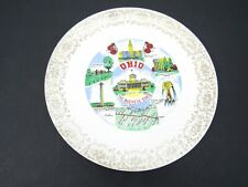 Pretty Collector Souvenir of Dayton Ohio Ivory Porcelain Gold Trim 4 Basket Theme Dish 6094
