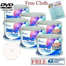 300 Smartbuy DVD+R DL 8.5GB White Inkjet Printable Disc + FREE Micro Fiber Cloth