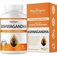 Extra Strength Organic Ashwagandha 1950mg Help Relieve Stress (90 Veggie Caps)