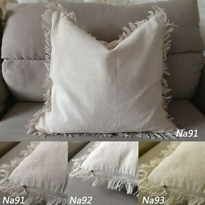 Tailor Made*COVER*Linen cotton (Handmade Fringe edge) raw cushion pillow case*Na