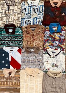 JOB LOT X12 ALL OVER PRINT PATTERNED POLO GOLF SHIRTS 27-02
