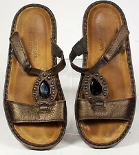 NAOT jeweled leather slides sandals size 38 with comfort foot bed