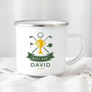 Best Golf Metal Tin Camping Mug/Cup Tea Coffee Gift Any Name Golfer Xmas Present