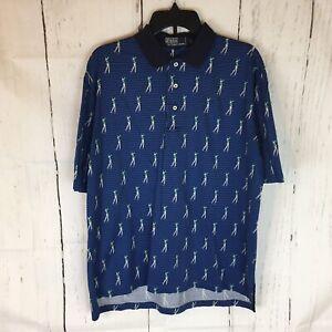 Polo by Ralph Lauren Golf Polo Shirt Men L Short Sleeve Cotton Blue Golf Print