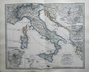 Italian Peninsula Corsica Sardinia Sicily Malta Rome 1884 Stieler detailed map