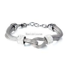 Lady Women's Silver Stainless Steel Bead Mesh Double Row Infinity Love Bracelet