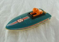 Blue Racing Boat #8 Toy Vehicle with Orange Driver Pilot TOMY 1978 Vintage