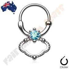 316L Surgical Steel Septum Clicker Ring with Single Blue CZ Gem