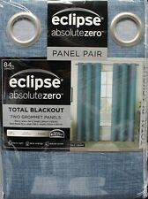 "Eclipse Absolute Zero Blackout Curtains 2 Panels 104"" W TOTAL  84"" L Max Denim"