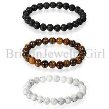 8MM Lava Tiger Eye Stone Bead Stretch Handmade Bangle Men Women Bracelet 3pcs