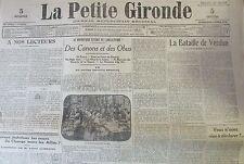 WW1 GUERRE 1914 - 1918 JOURNAL LA PETITE GIRONDE MARS 1916 LOT 31 NUMEROS VERDUN
